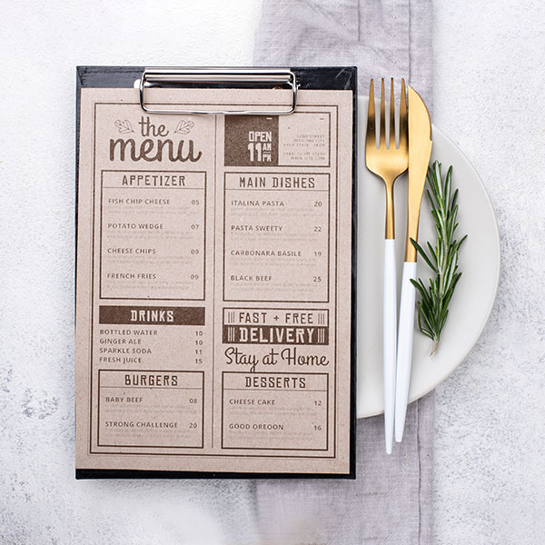 печат на меню за ресторант, заведение, бар, кафене